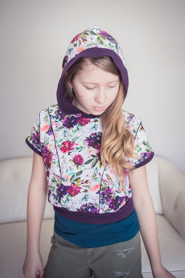 The Clover Hoodie by Sofiona Designs.  View A, short sleeve, hooded version.