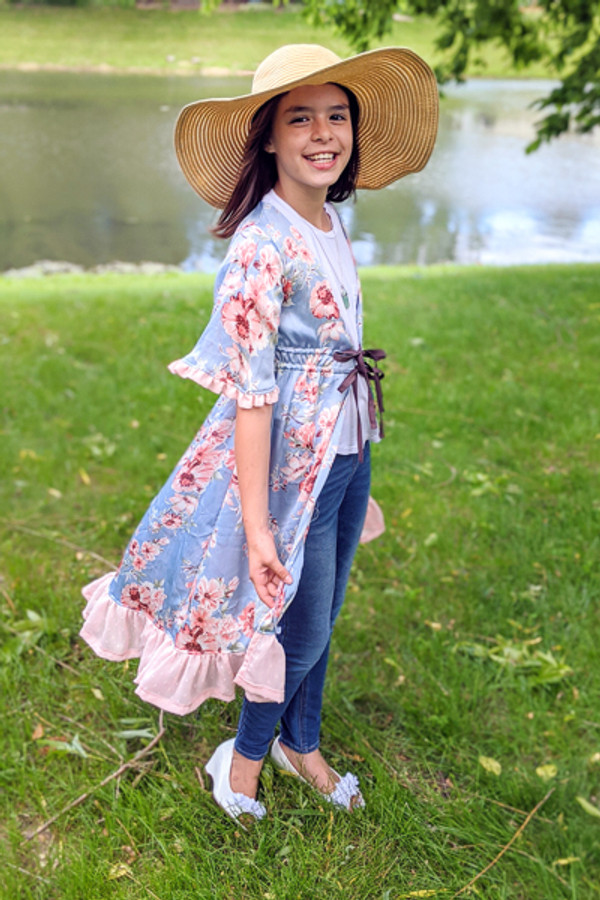 Trendy light weight cover up PDF sewing pattern for girls size 2-16 from Sofiona Designs.