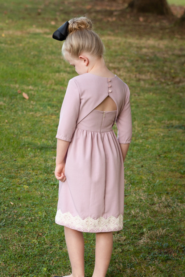 Elegant back details on this holiday dress from Sofiona Designs.