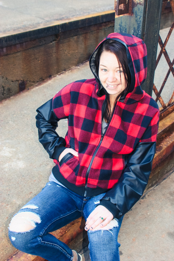 Miss Rose Hip Jacket in waist lengthwith gusseted hood and welt pockets in simple view C. Available is junior miss sizes 0-20 from Sofiona Designs.
