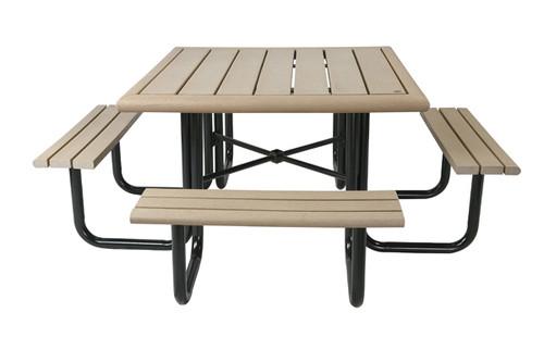 "6-1/2"" Public Place Square Picnic Table - Bullnose Profile"