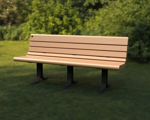 6' Nicolet Bench with Backrest and Curved Legs - Steel Structure with Avantage+ slats