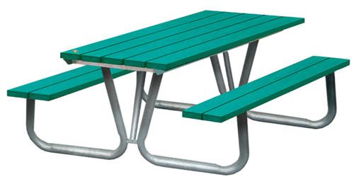 Public Place Picnic Table - Straight narrow slats top & seats