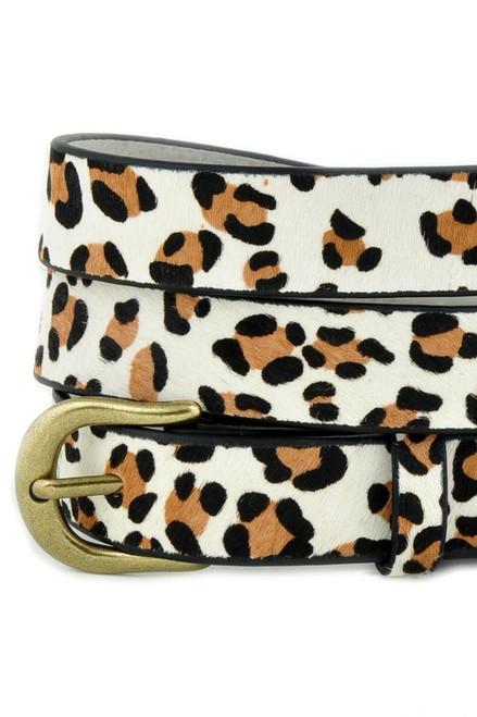 Leather leopard belt