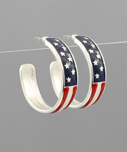 Metal Flag Hoop Earrings