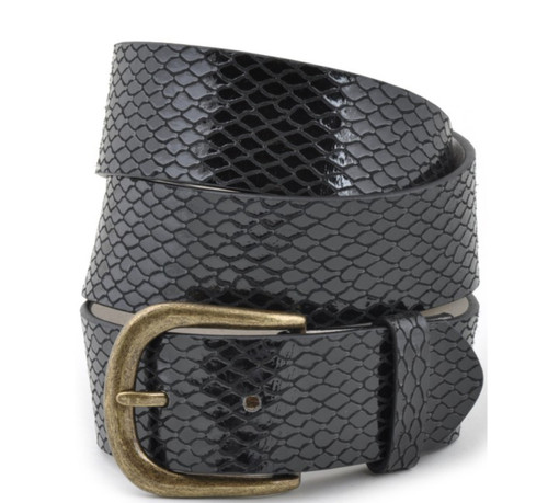 Snake Texture Leather Belt