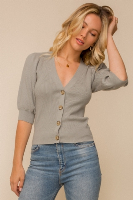 Puff sleeve ribbed cardigan