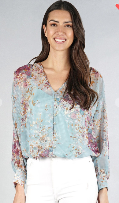 Printed front button blouse