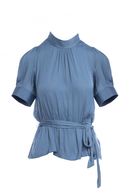 Ruched Neck Peplum Top
