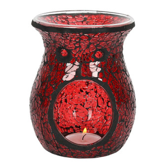 Red Flared Crackle Oil Burner / Wax Melter