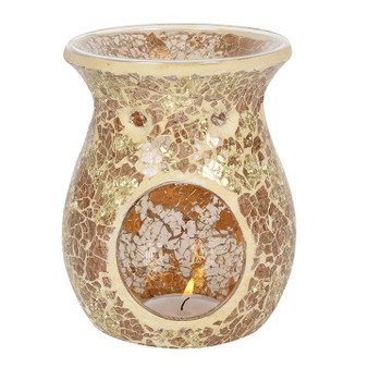 Gold Flared Crackle Oil Burner / Wax Melter