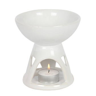 White Deep Bowl Oil Burner / Wax Melter