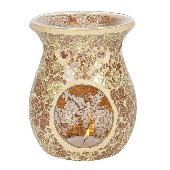 Gold Flared Crackle Oil Burner / Wax Melter