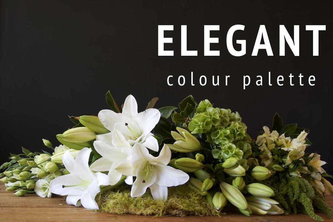 """Example of the """"Elegant"""" seasonal flower colour palette."""