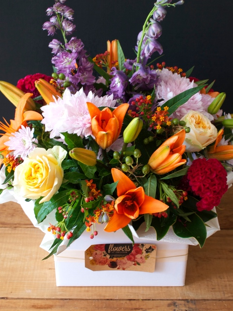 Vibrant Box Arrangement of Flowers