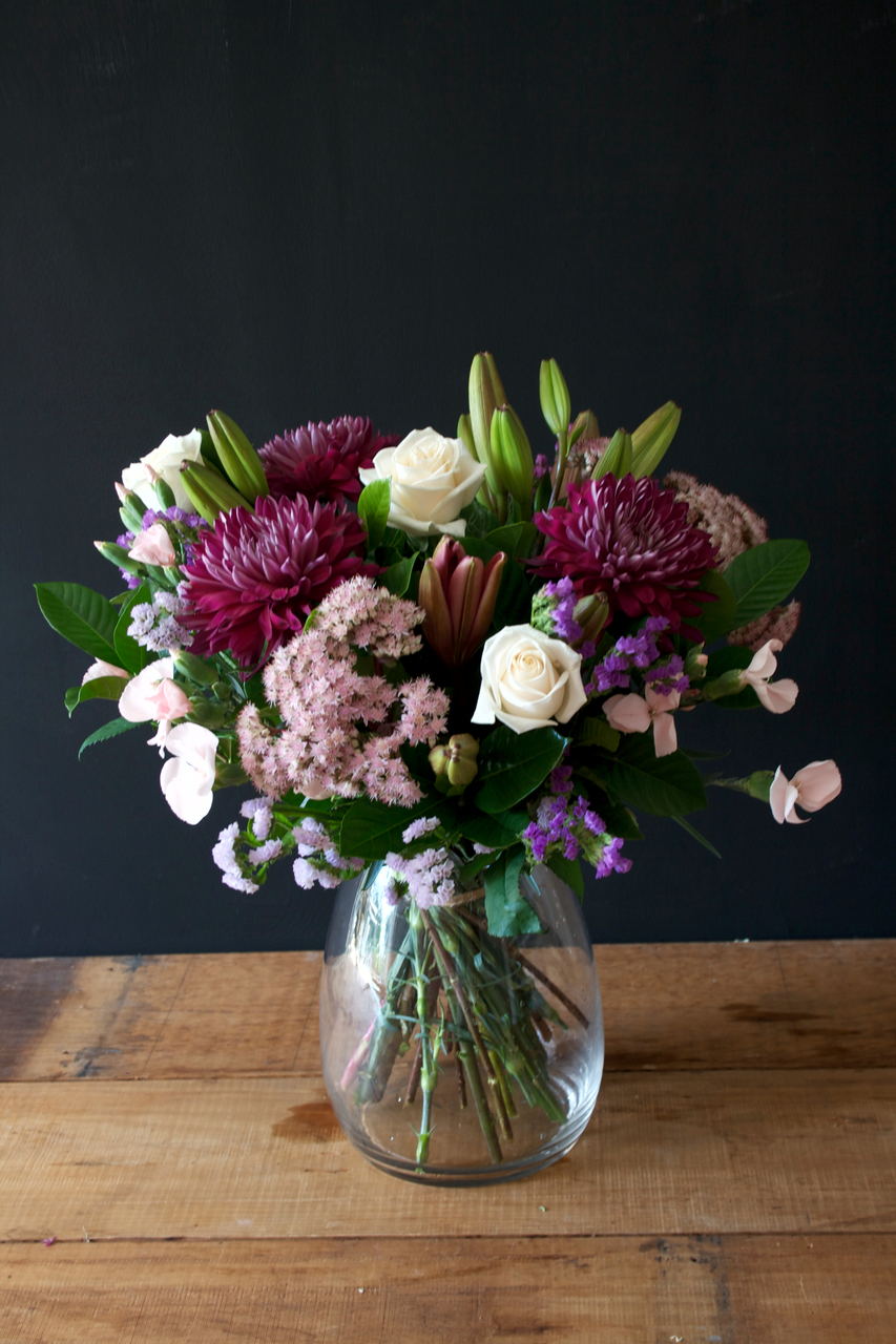 Flowers at the Door & Just Because Flowers in Glass Vase