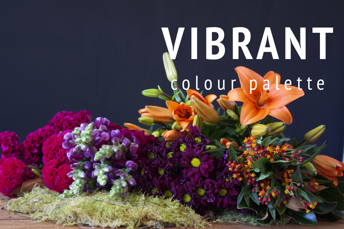 "Example of the ""Vibrant"" seasonal flower colour palette."