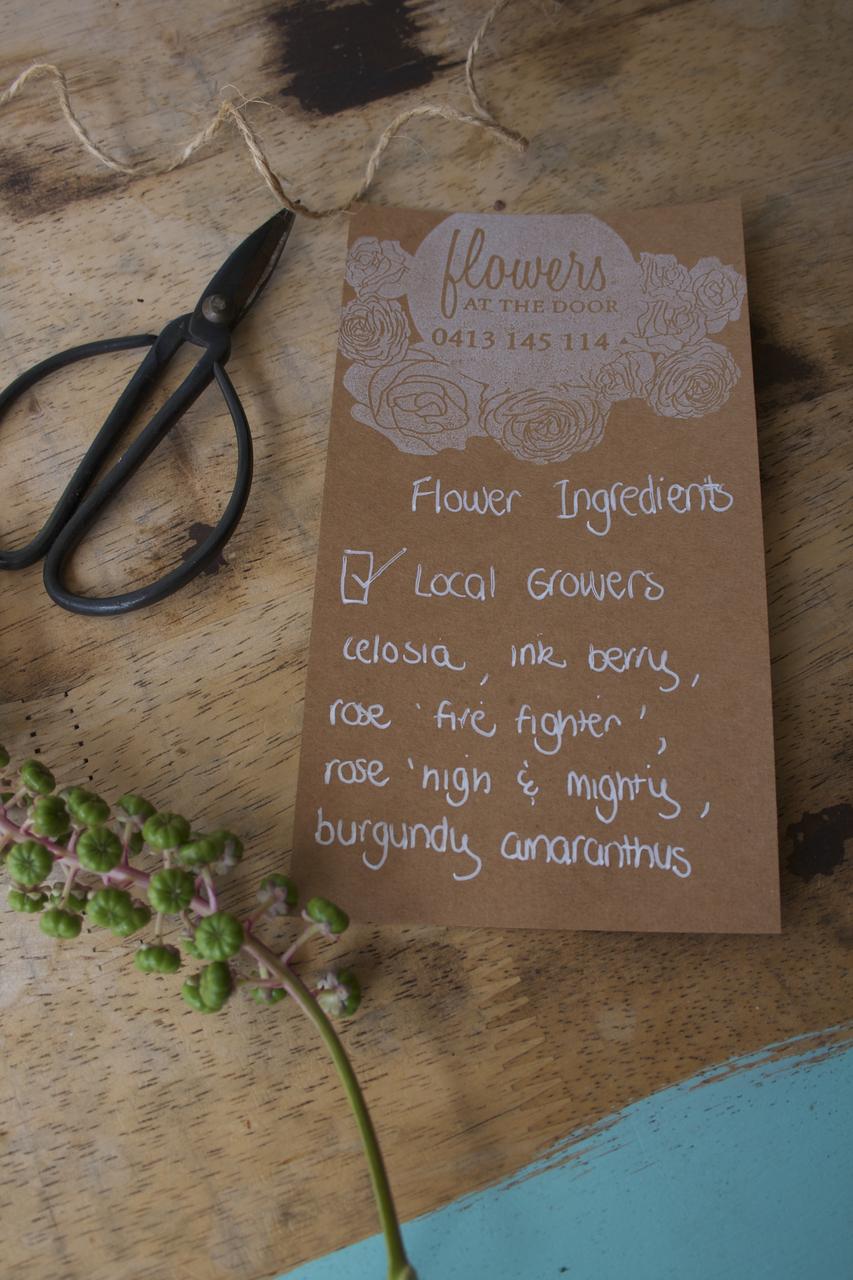 Flowers at the Door Florist Flower Ingredients Card
