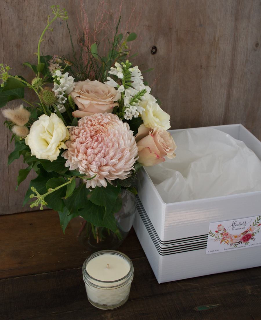 Small Jar of Mixed Blooms and Candle