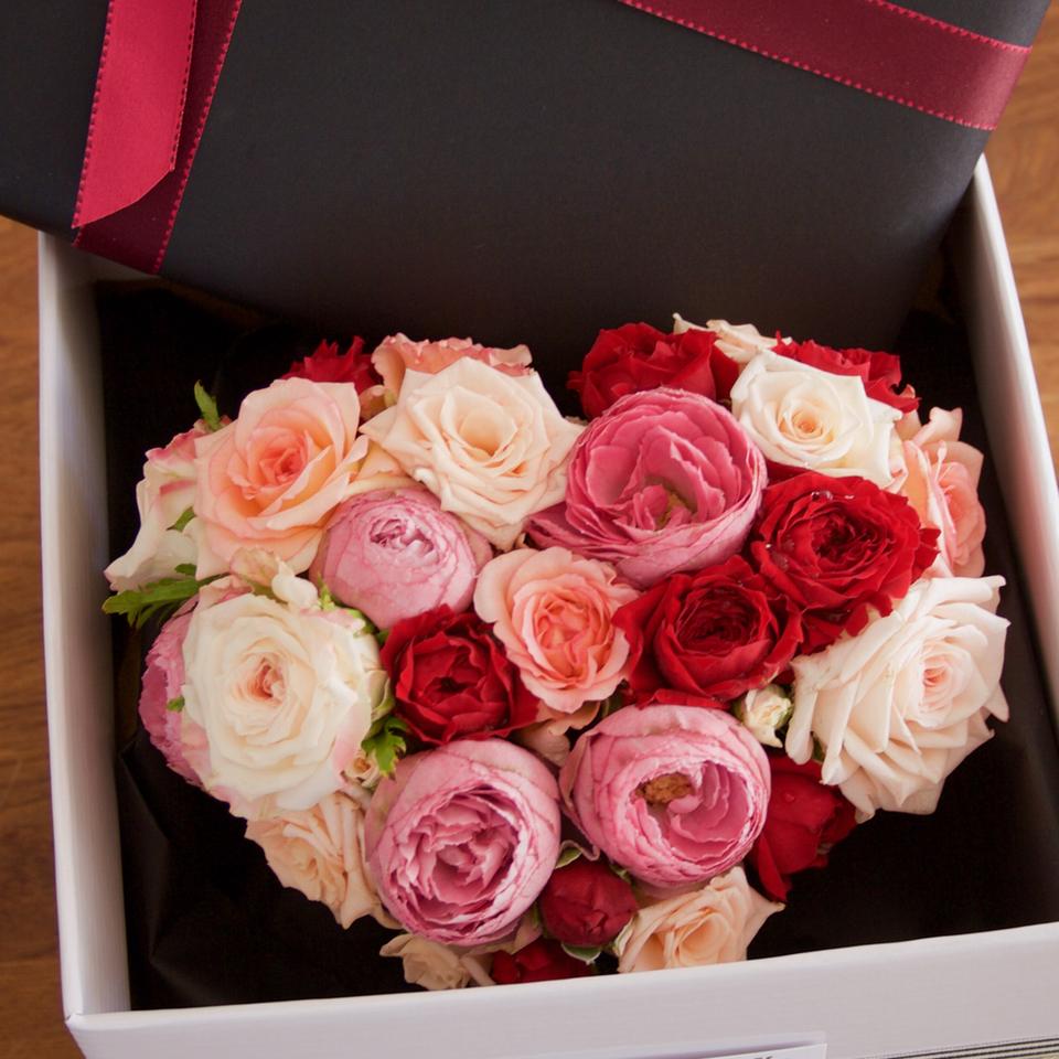 Mixed Rose Heart and Chocolates