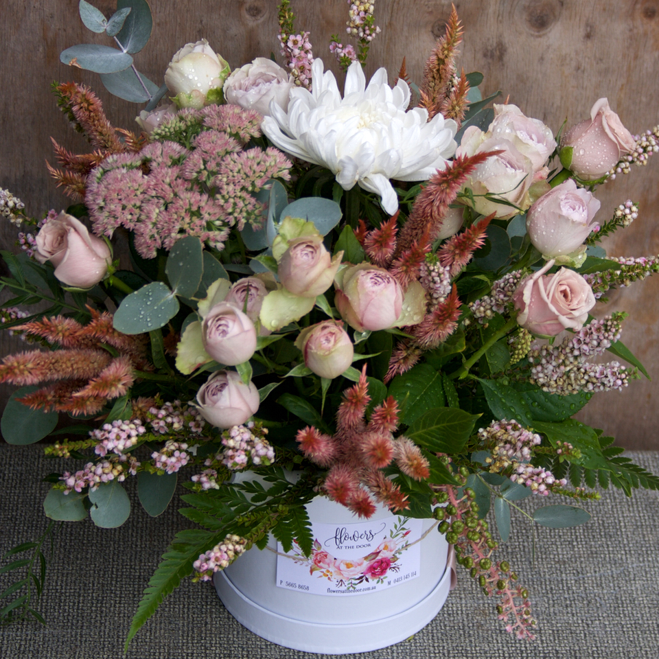 Flowers In A Container Pastel Pink Flowers In A Hat Box Same Day