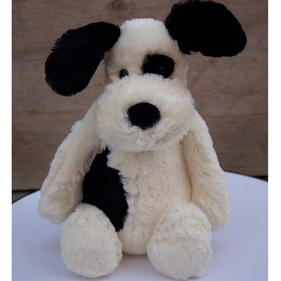 Bashful Black & Cream Puppy - Soft Toy