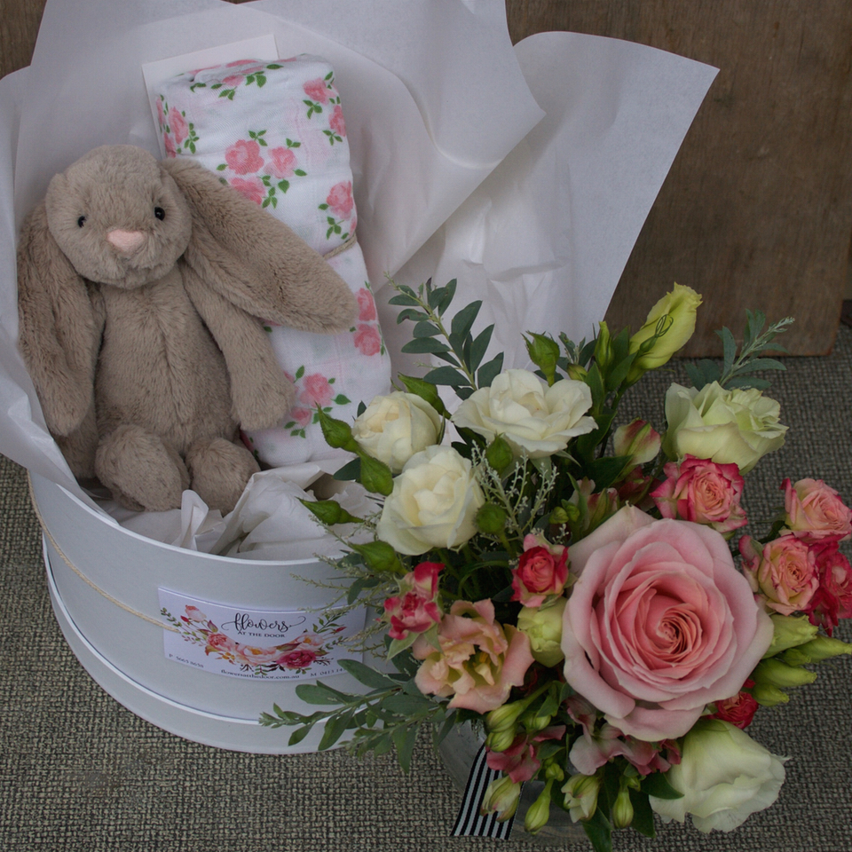 Baby Girl Welcome Box with Beige Bunny