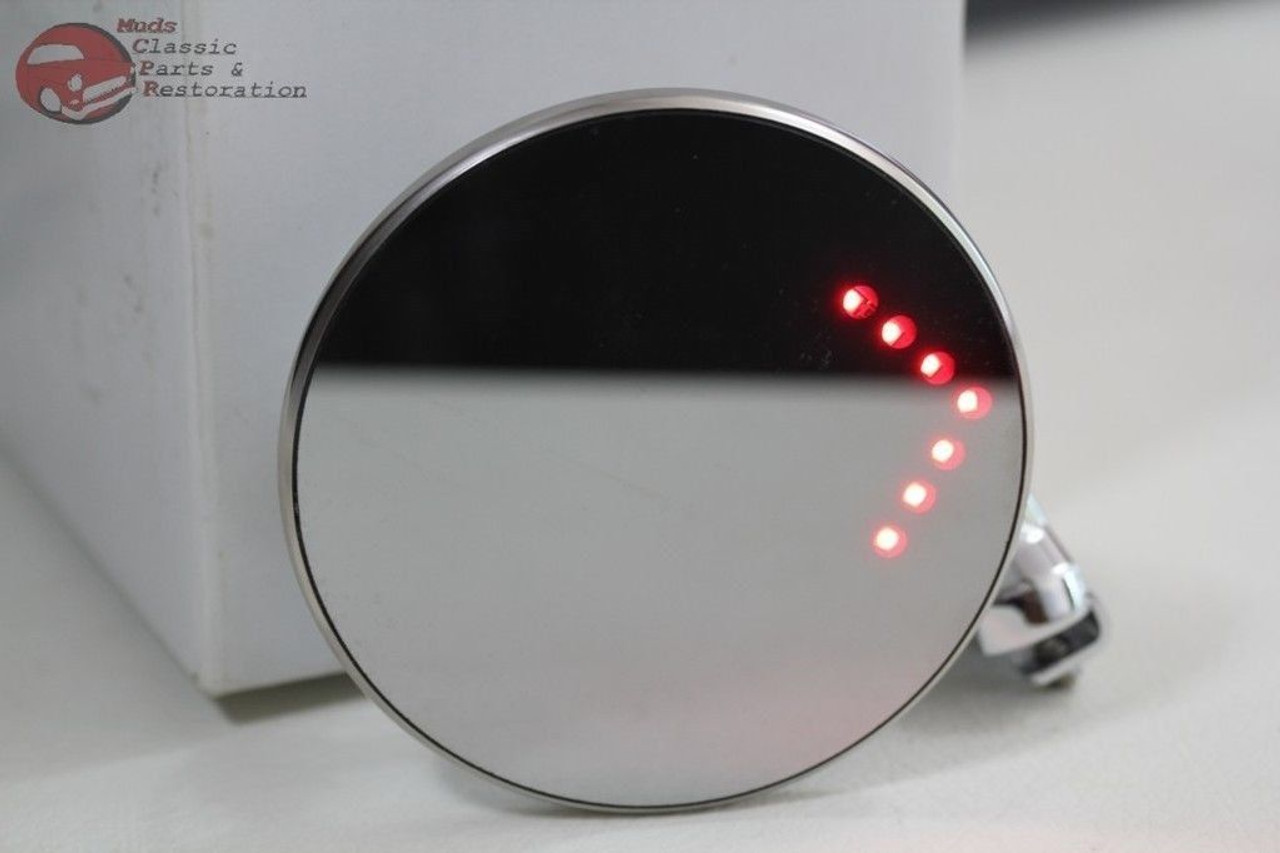 """4/"""" LED Turn Signal Curved Arm Peep Mirror Outside Rearview Hot Street Rat Rod"""