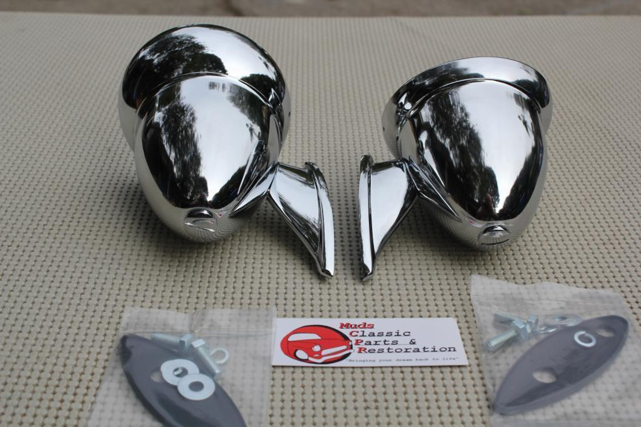 GT Style Chrome Race Bullet Outside Sports Mirrors Hot Rat Street Rod Custom