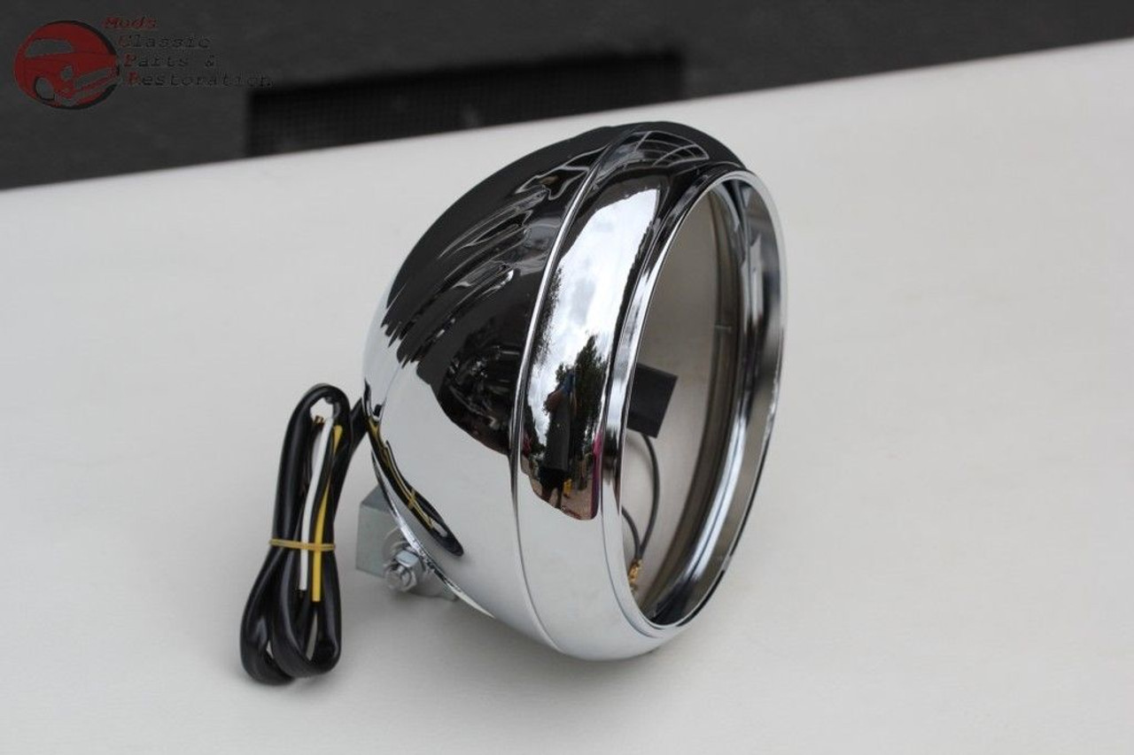 """Motorcycle Ribbed 7/"""" Round Head Light Lamp Bulb Bucket Housing Heritage Fat Boy"""