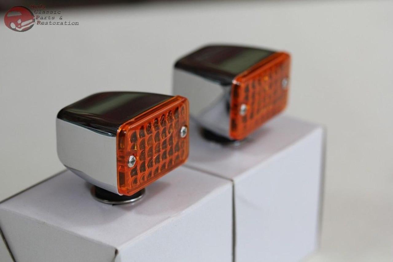 12V 4 Amber LED Small Rectangular Chrome Rod Light w// Amber Lens Hot Rat Rod