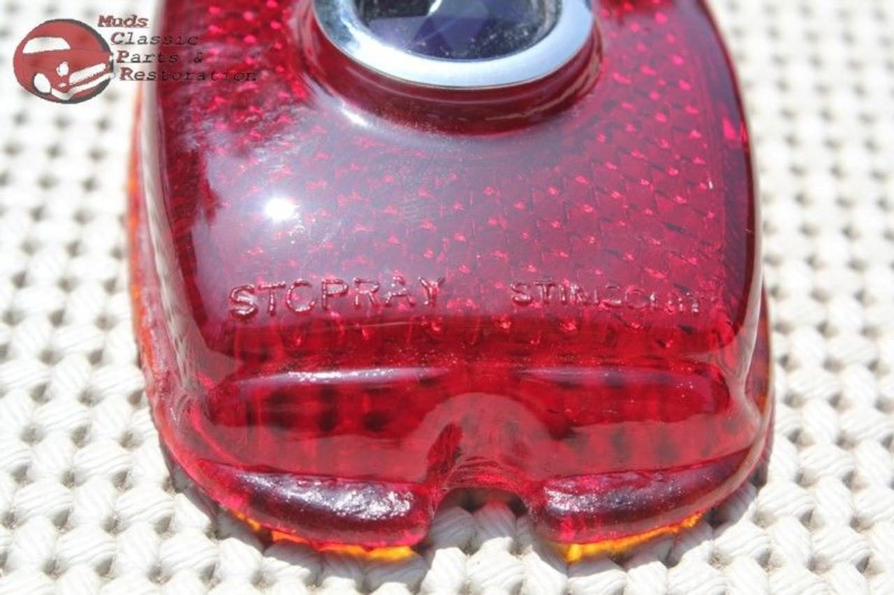 Vintage Antique Chevy Car Sedan Delivery Blue Dot Tail Light Lamp Script Lens Ea