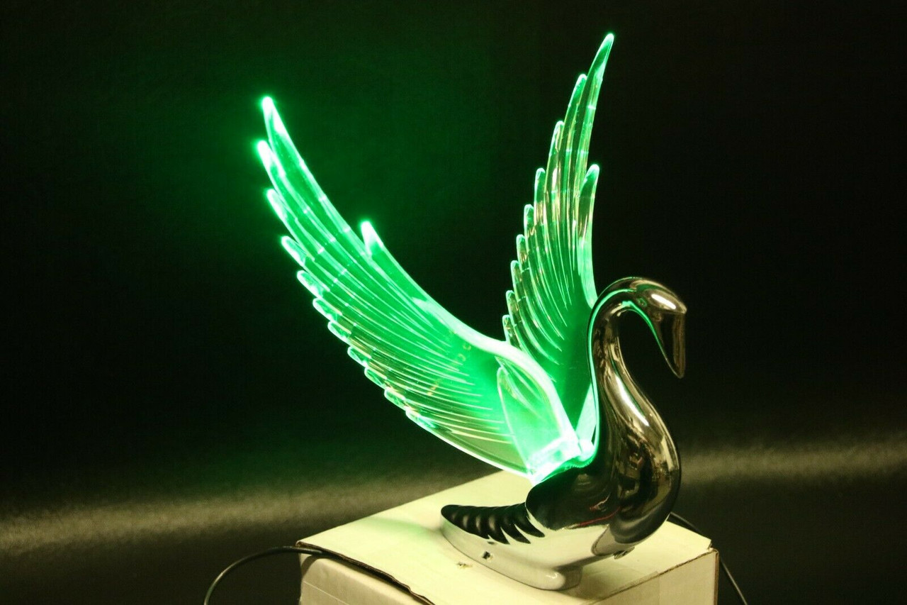Flying Swan 40/'s 50/'s Hood Ornament Custom Hot Rod Truck Clear Wings Pink Light