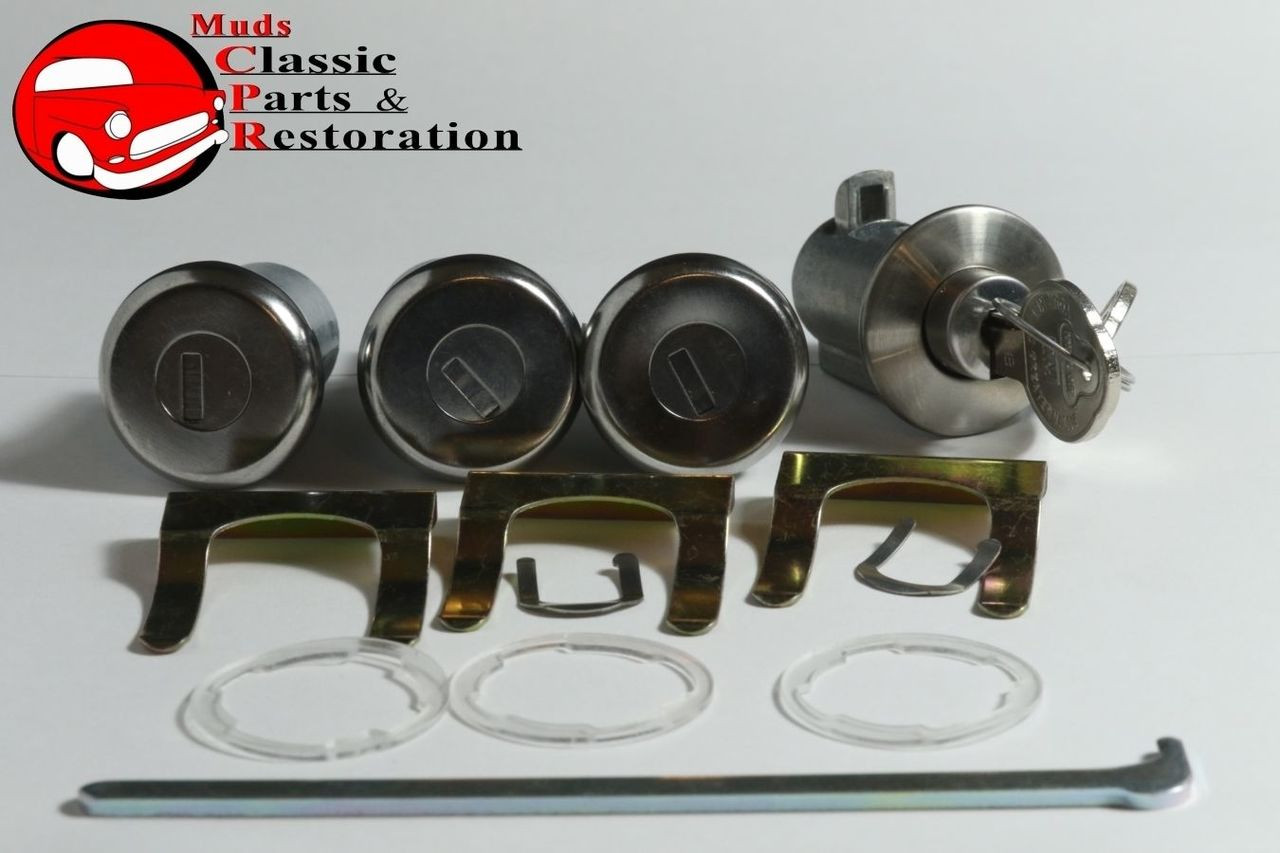 58 63 Chevy Fullsize Lock Cylinder Kit Glove Box Trunk Door OEM Origin Pear Key