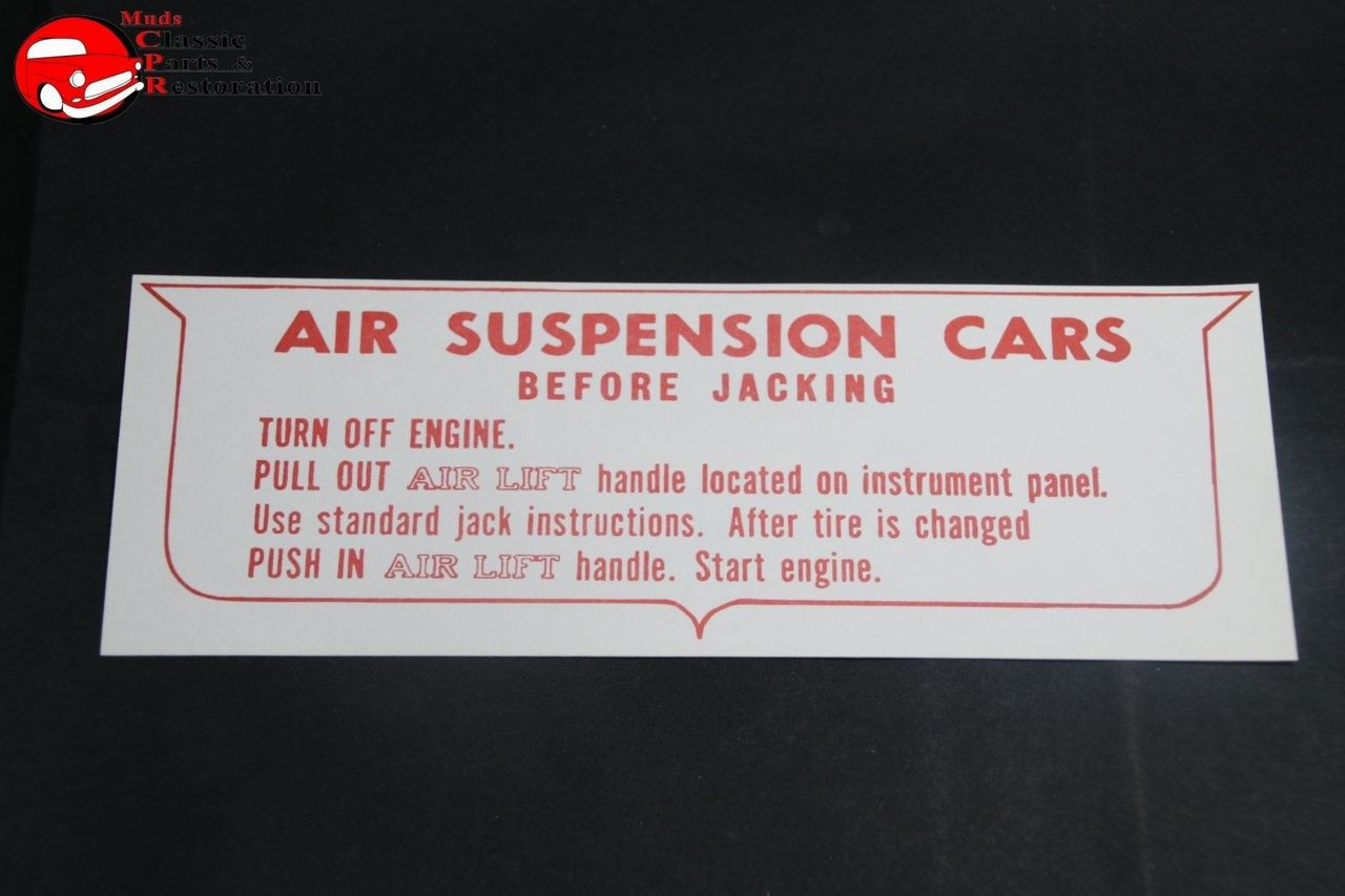 59 Oldsmobile 4V Dry Style Air Cleaner Service Instructions Decal