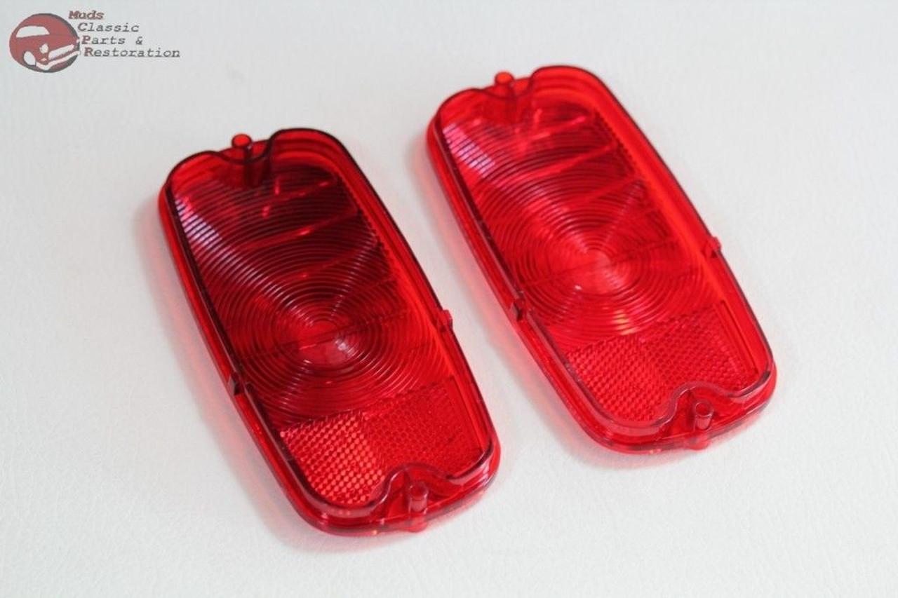 60-66 Chevy Pickup Truck Tail Light Lamp Lens Chrome Bezel Set Bowtie Logo