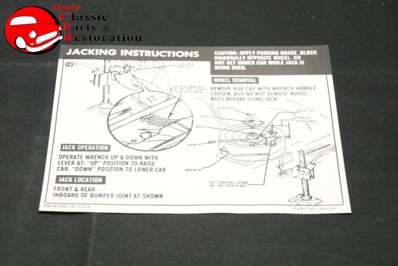 66 Impala Convertible Jack Instructions Decal GM Part # 3892195