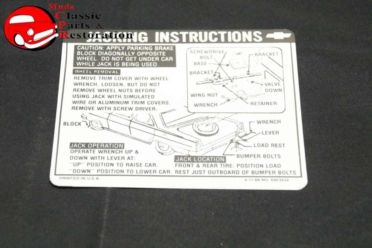 67 Chevy II/Nova Sedan & Hardtop Jack Instructions Decal GM#6903939