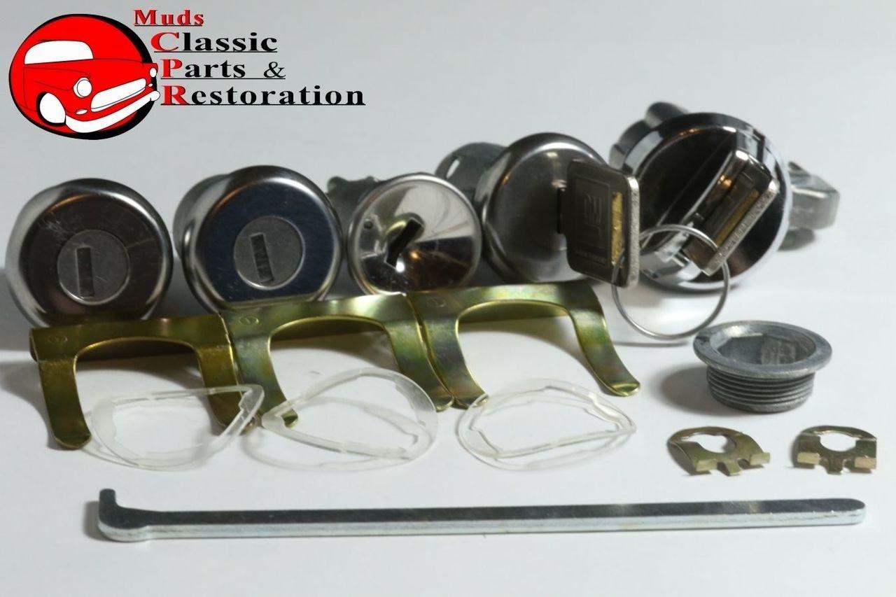 68 Nova Chevelle Ignition Door Trunk Glovebox Locks Original Keys GM Logo  Chevy