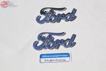 Chrome Ford Script Emblems Body Panel Fender Custom Truck Hot Rat Street Rod New
