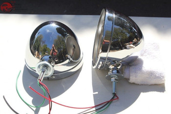 """Chrome Hot Rat Street Rod Roadster Dietz 7"""" Headlight Lamp Buckets Assemblies"""