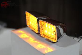 Chrome Rectangle Amber Led Clear Lens Park Lights Turn Signal Hot Rat Rod Truck