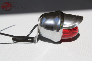 Custom Chrome Mini Red Lens Bullet Marker Accent Light W Visor Hot Rat Rod New