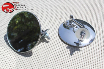 Custom Fender Mounted Single Bolt Lucas Style Outside Rearview Mirrors Mini Mg