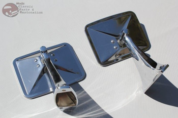 Custom Pickup Truck Chrome Square Rectangle Door Mount Outside Rearview Mirrors