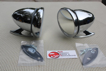 Gt Style Chrome Race Bullet Outside Sports Mirrors Hot Rat Street Rod Custom