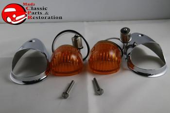 Guide Style Headlight Chrome Led Turn Signal Marker Lights Housing Amber Lens