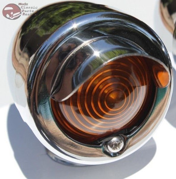 Mini Marker Utility Accent Light Lamp Assembly Chrome Amber Lens Hot Rat Rod New