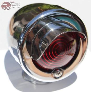 Mini Marker Utility Accent Light Lamp Assembly Chrome Red Lens Hot Rat Rod New