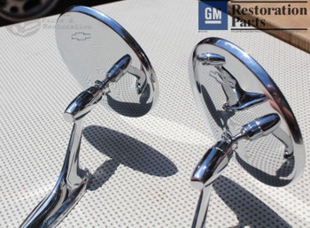 Round Bowtie Outside Rearview Mirrors Ribbed Base Chevy Chevelle Impala Nova New